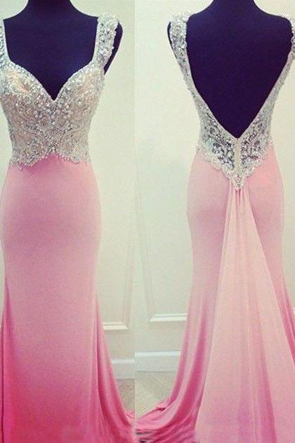 Sexy Pink Chiffon V-neck Long Mermaid Prom Dresses Beaded Formal Gowns Open Back Evening Dresses Plus Size Party Homecoming Dresses 2017