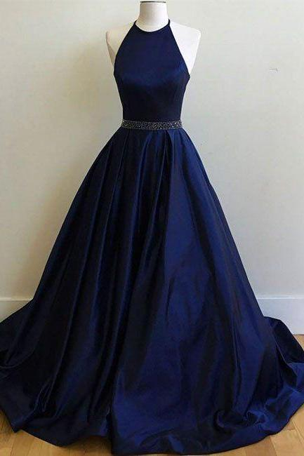 Navy Halter Prom Dress with Beaded Waist 2017