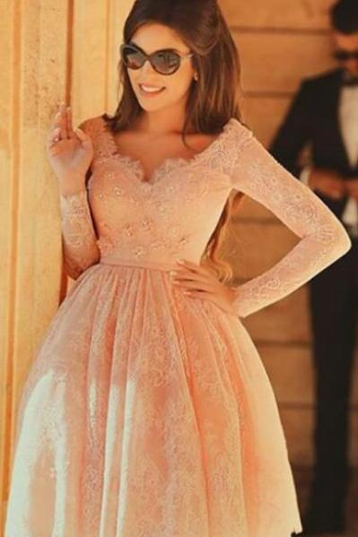 Long sleeve lace Homecoming dresses, Short lace Homecoming dresses, 2017 Homecoming dresses, sexy Homecoming dresses, Custom prom dresses