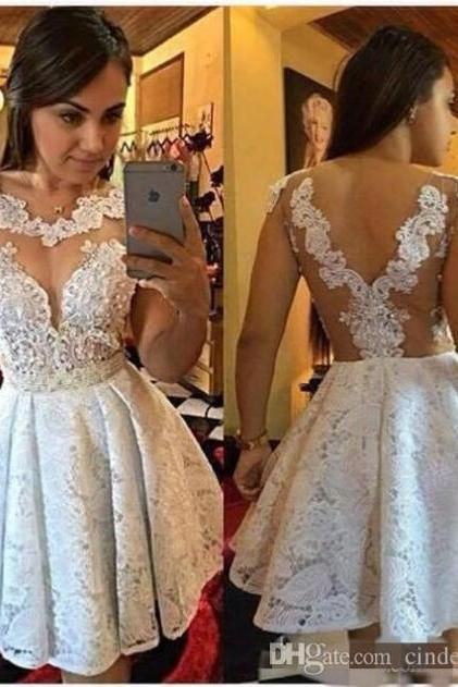 Sexy Short Prom Dress,white Homecoming Party Dress Girls lace Graduation Gowns