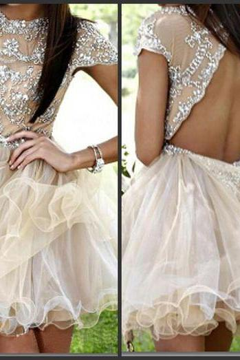 Rhinestone homecoming dress,open back homecoming dress,short prom dress,organza homecoming dress,cocktail dress,cute prom dress