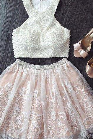 Two Piece Short White Lace Prom Dress with Pearls