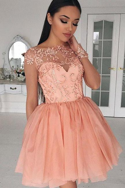 Cute A-Line Bateau Cap Sleeves Tulle Lace Short Homecoming/Prom Dress