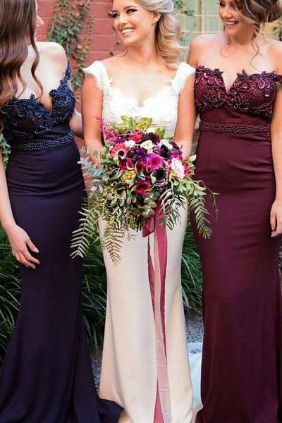 2017 Off Shoulder Long Mermaid Rhinestone Beaded Bridesmaid Dresses
