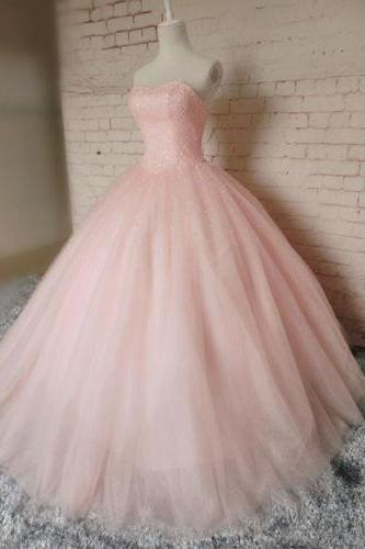 Pink Ball Gown Beading Prom Dress,Long Prom Dresses,Charming Prom Dresses,Evening Dress, Prom Gowns, Formal Women Dress,prom dress 2017