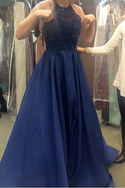 Royal Blue Prom Dress,Ball Gown Prom Dress,Beaded Bodice Prom Gown,Princess Prom Dresses,Sexy Evening Gowns,2017 New Fashion Evening Gown,Red Party Dress For Teens