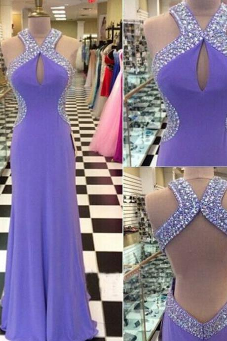 2017 Beaded Prom Dresses A-line Lavender Purple Halter Neck Sexy Backless Long Evening Gowns