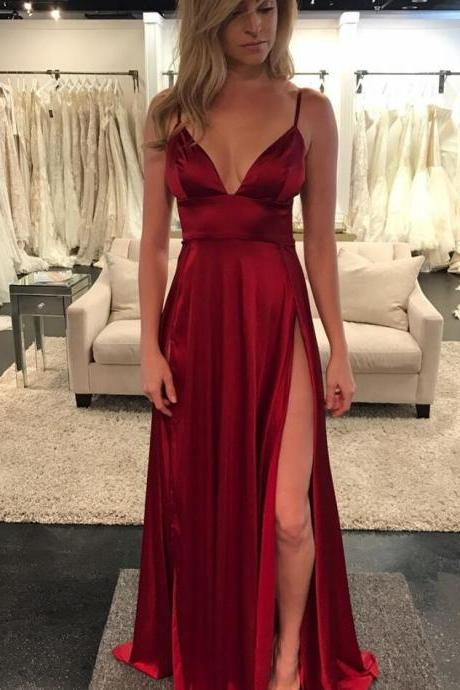 Evening Dress Store-Unique A-Line Spaghetti Straps Sexy Prom Dress,Purple Tulle Long Prom Dresses 2018