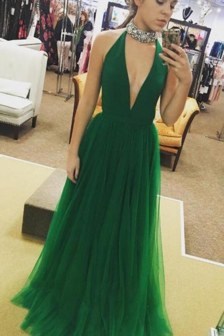 Evening Dress Store-Cheap Sexy Deep V-neck Prom Dress,Tulle Long Prom Dress,Simple A-line Sleeveless Prom Dress Formal Evening Gowns