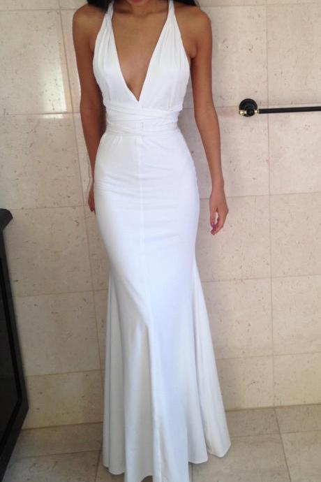 Evening Dress Store-Prom Dress,Sexy Evening Gowns White Deep V Neck Mermaid Prom Dresses, Formal Gown, Evening Dress,Cocktails Dress,Homecoming Dresses, Formal Occasion Dresses,Formal Dress