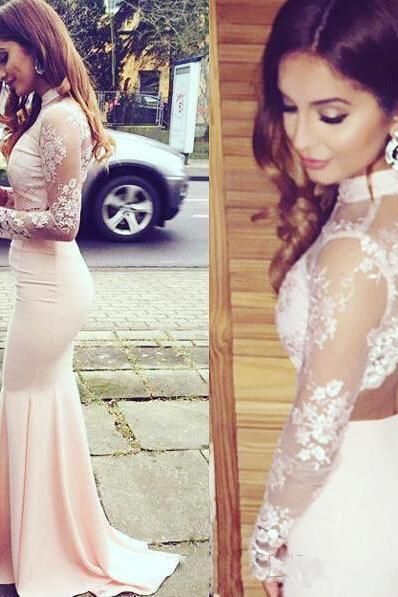 Evening Dress Store-Prom Dress, High Neck Lace Pink Prom Dress,Long Prom Dresses,Wedding Guest Prom Gowns, Formal Occasion Dresses,Formal Dress