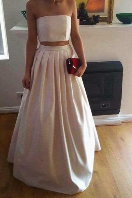 Evening Dress Store-Charming Formal Halter Two Pieces Formal Dress, Party Gowns With Pockets, Light Pink Prom Dress, Simple Satin Prom Dress, 2 Pieces Prom Dresses, Senior Prom Dress, Prom Dress for Teens