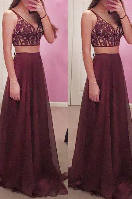 Evening Dress Store-Gorgeous Wine Red 2 pieces Prom Dresses Long Sexy Evening Gowns Chiffon Two Piece Burgundy Formal Dress For Teens