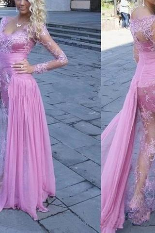 Evening Dress Store-Gorgeous See Through Long Sleeve Long Sheath Sexy Lace Tulle Prom Dresses, Lavender Prom Dresses, Long Sleeves Prom Gowns, Lace Prom Dresses, Party Dress for Prom