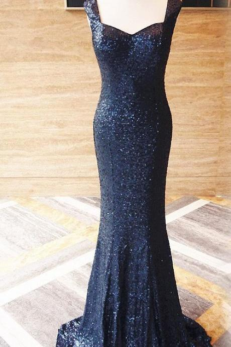 2018 Sequined Navy Blue Prom Dresses, Mermaid Prom Dresses, Sequins Evening Dresses, Sweetheart Prom Evening Dress, Woman's Formal Dresses