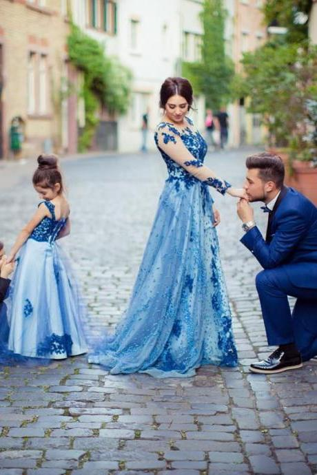 Royal Blue Lace Flower Girl Dress Kids Pageant Party Wedding Bridesmaid Ball Gown Prom Princess Formal Occasion Long Dress 2018