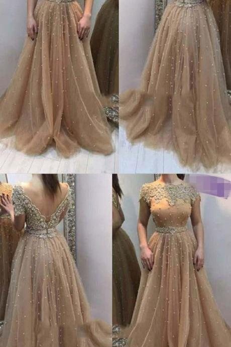 A-Line Bateau Cap Sleeves V-Back Champagne Prom Dress with Pearl Appliques,Formal Gowns,Sexy Prom Dress,Prom Gowns,Fashion Dress,2017 Evening Dress,Dresses,Dress,Gowns,Junoesque Prom Dresses,Simple Prom Dress,Eleg Glamour Evening Dress,Ant Prom Dresses,Sumptuous Prom Dresses,beautiful Prom Dresses,Romantic Prom Dresses