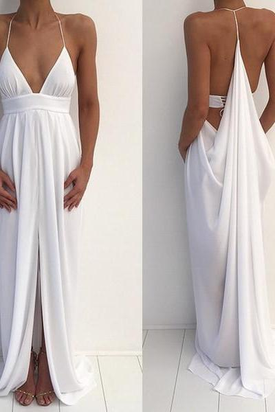Beach Sexy Halter Unique Split White Cheap Simple Long Prom Dresses,We Prom Dresses,Party Dresses,V Neck Prom Dress,Chiffon Prom Dresses,Dress,Gowns,Junoesque Prom Dresses,Simple Prom Dress,Eleg Glamour Evening Dress,Ant Prom Dresses,Sumptuous Prom Dresses,beautiful Prom Dresses,Romantic Prom Dresses