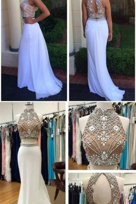 New Fashion Elegant Two Piece White Long Beads Prom Dress Evening Dress Sparkly Evening Formal Gown,Dresses,Dress,Gowns,Junoesque Prom Dresses,Simple Prom Dress,Eleg Glamour Evening Dress,Ant Prom Dresses,Sumptuous Prom Dresses,beautiful Prom Dresses,Romantic Prom Dresses 2018