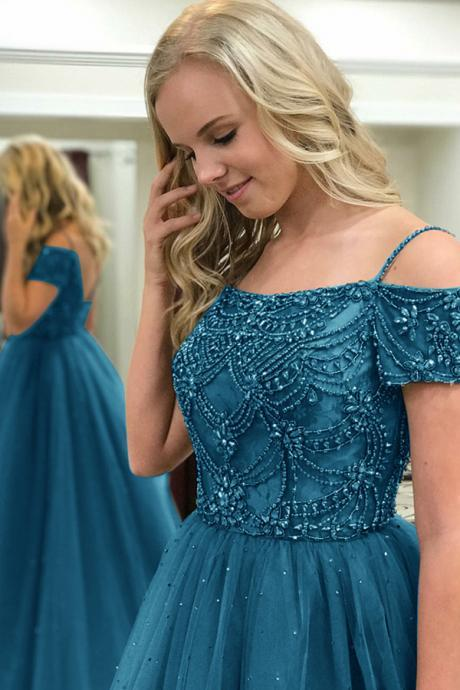 Ball Gown Off-the-Shoulder Sweep Train Dark Blue Tulle Prom Dress with Beading,Romantic Prom Dresses,Wedding dress,clothing,Women's clothing,2018 Evening Dress,2017 Prom Dresses,2018 Prom Dress