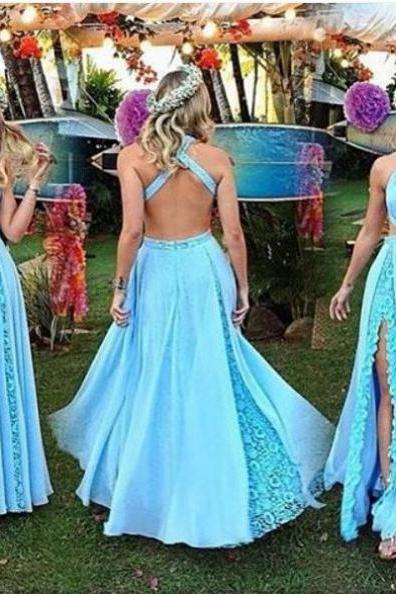 Blue Sheath/Column Halter Sleeveless Natural Floor-Length Chiffon Prom Dresses 2018,Dress,Gowns,Junoesque Prom Dresses,Simple Prom Dress,Eleg Glamour Evening Dress,Ant Prom Dresses,Sumptuous Prom Dresses,beautiful Prom Dresses,Romantic Prom Dresses,Wedding dress,clothing,Women's clothing