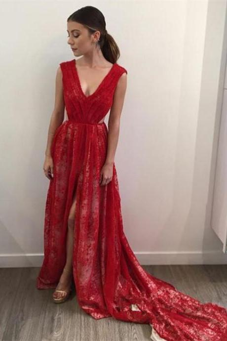 Sexy Slit Prom Dress,V-neckline Red Lace Evening Dress,Slit Red Graduation Dress,Red Lace Bridesmaid Dress,Junoesque Prom Dresses,Simple Prom Dress,Eleg Glamour Evening Dress,Ant Prom Dresses,Sumptuous Prom Dresses,beautiful Prom Dresses,Romantic Prom Dresses,Wedding dress,clothing,Women's clothing,2018 Evening Dress,2017 Prom Dresses,2018 Prom Dress