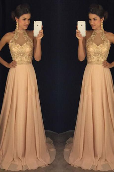Champagne prom dress,high neck long prom dresses, evening dress, formal dress,2018 Prom Dress,Women's clothing,Junoesque Prom Dresses,Simple Prom Dress,Party Dress,Graduation Dress