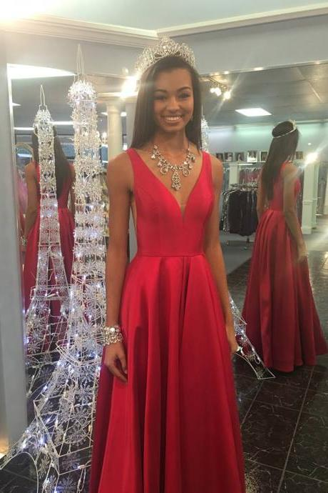 Simple A line Prom Gown ,V-neck Graduation Dress,Red Prom Dress,Sexy Red Evening Dress,Long Red Bridesmaid Dress,Cheap Evening Dress