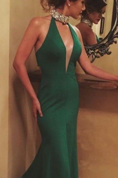 Mermaid Halter Neckline Prom Dress, Dark Green Evening Dress,Beaded Halter Neckline Open Back Prom Dresses