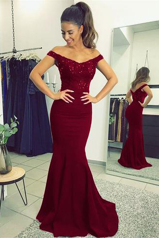 Burgundy Prom Dresses,Elegant Prom Dress,V-neck Prom Dress,Long Prom Gown,Mermaid Prom Dresses,Beaded Evening Gowns 2018