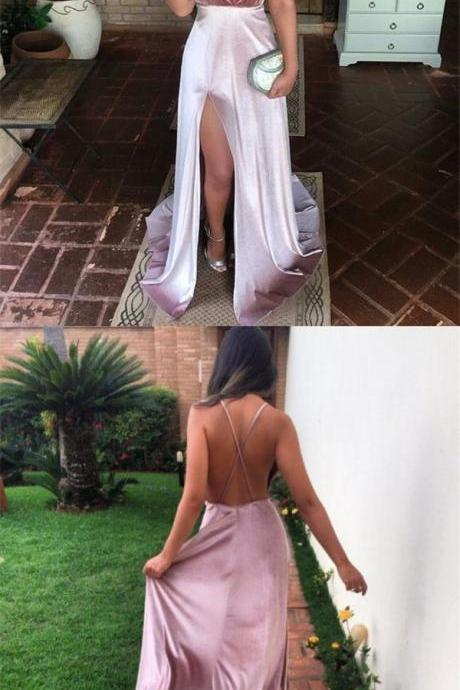 Charming New Sexy Simple Fashion Prom Dresses, Modern Slit Spaghetti Straps Prom Dress 2018