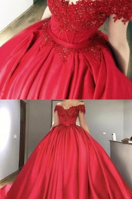 2018 Red Evening Dresses, Long Evening Dresses, Beautiful Red Prom Dresses Ball Gown Sweep/Brush Train Long Prom Dress/Evening Dress