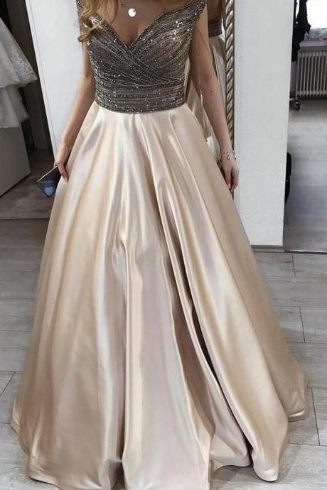Champagne Prom Dresses,Off the Shoulder Prom Dresses,Satin Prom Dress,A Line Prom Gown,Long Evening Dresses,Formal Party Dress