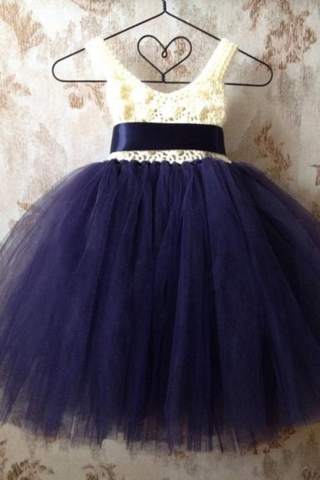 Dark blue organza V neck lace girls dress with straps 2018