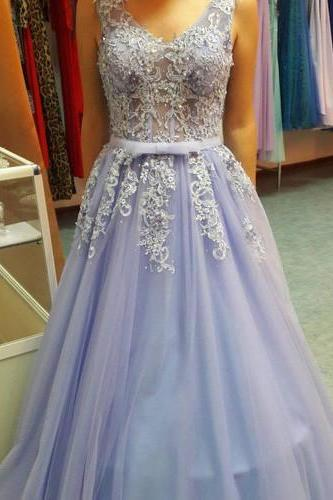2018 A-LINE V-NECK LONG PROM DRSESS TULLE EVENING GOWNS