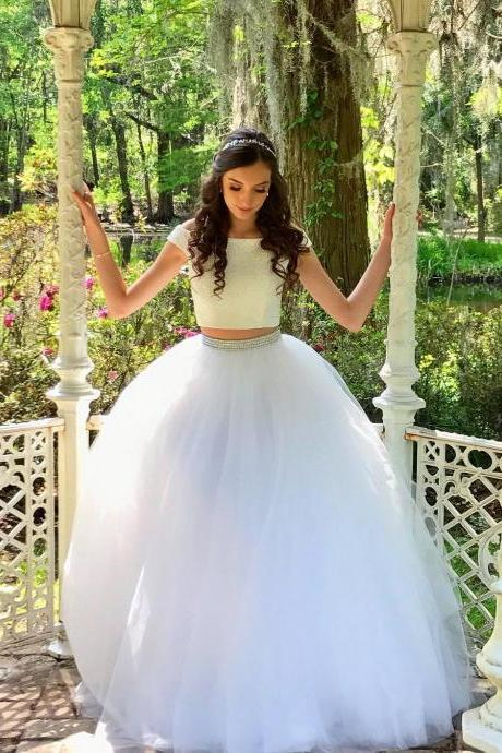 White Two-Piece Beaded Long Prom Dress,Off Shoulder Tulle Floor-length Evening Dress