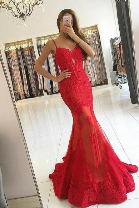 Mermaid Spaghetti Straps Sweep Train Red Prom Dress with Appliques