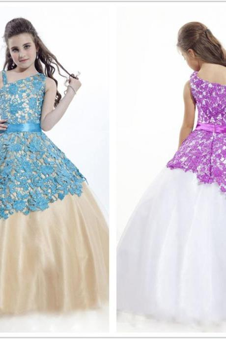 Lace Ball Gown Floor Length Flower Girl Dresses Children Birthday Dress Tulle Kids Wedding Party Dresses