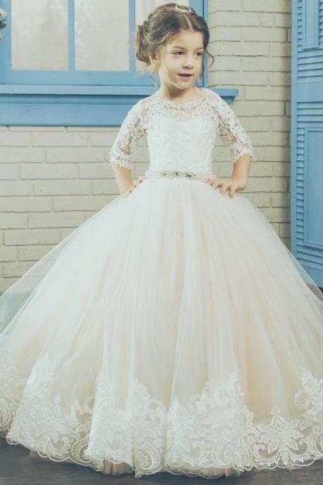 Short Sleeve Sash Applique Pageant Flower Girl Dresses Children Birthday Dress Lace Ball Gown Tulle Wedding Party Dresses