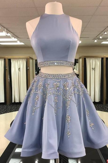 Luxurious Two Piece Short Beads Homecoming Dress Party Dress 2018