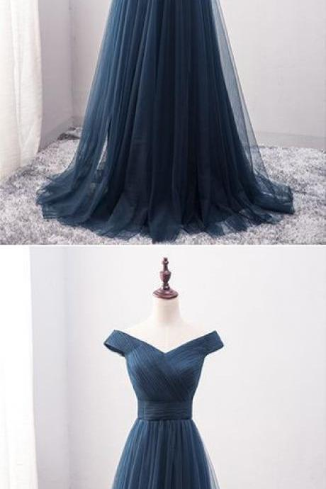 Navy Blue Prom Dress,Off the Shoulder Prom Dress,Custom Made Evening Dress,17130