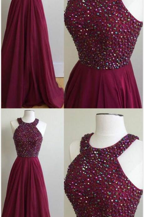Beaded Prom Dresses, Chiffon Prom Dress,Halter Neckline Prom Dress, Long Prom Dress ,Party Gown, Graduation Dresses, Formal Dresses, Prom Dress For Teens