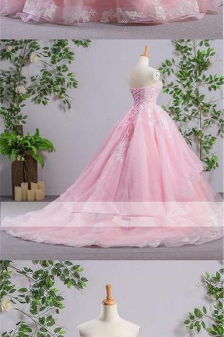 Sweetheart Pink A-line Wedding Dresses,Lace Cheap Wedding Dress,Evening Prom Dresses, Sweet 16 Dresses