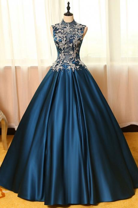 Dark Teal A-line Satin with Lace Long Prom Dress