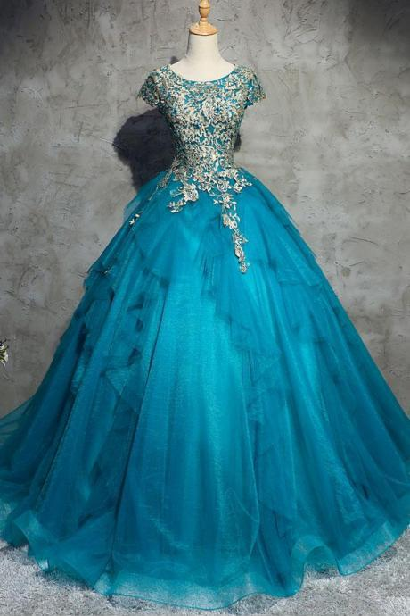 A-line blue short sleeves long prom dress
