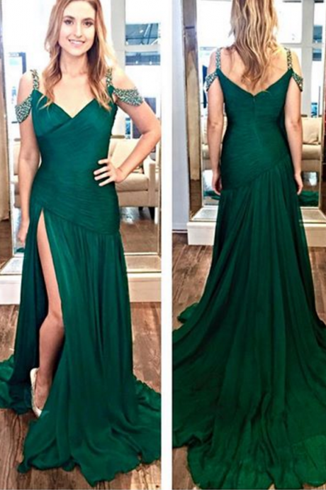 Fashion A-Line Off-The-Shoulder Dark Green Sweep Train Prom Dress With Beading