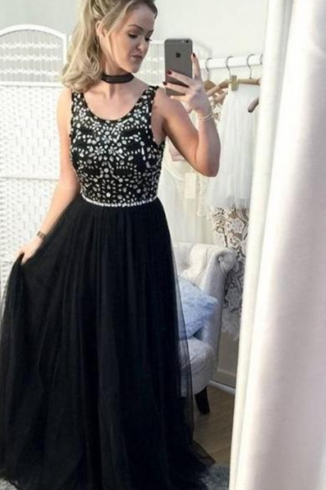 Beading Prom Gown, Black Prom Gowns, Sleeveless Prom Dress,Chiffon Evening Gown, Sweetheart Prom Party Dress,Elegant Prom Gowns