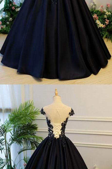 Black Sheer Round Neck Lace Appliqués Satin Princess Ball Gown, Prom Dress, Evening Dress Featuring Lace-Up Back
