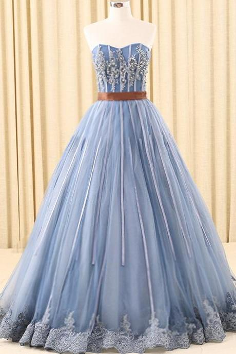 Glamorous Ball Gown Prom Dress,Sweetheart Long Prom Dresses,Evening Dress With Appliques