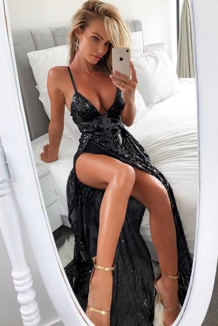 2018 V Neck Black Sequin Maxi Dress